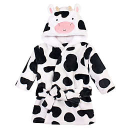 Hudson Baby® Size 0-9M Plush Cow Bathrobe in Black
