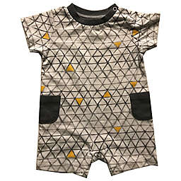 Sterling Baby Triangle Short Sleeve Romper in Grey
