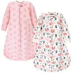 Hudson Baby® Size 0-6M Forest Quilted Long Sleeve Wearable Blankets in Pink (Set of 2)