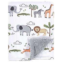 Hudson Baby® Safari Life Plush Sherpa Blanket in Grey