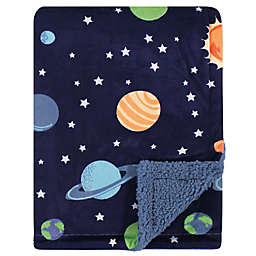 Hudson Baby® Solar Plush Sherpa Blanket in Blue