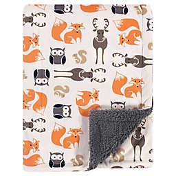 Hudson Baby® Boy Forest Plush Sherpa Blanket in Orange