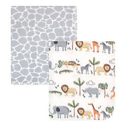 Hudson Baby® 2-Pack Safari Life Fleece Blankets in Grey