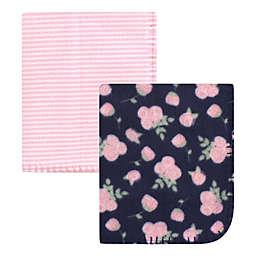 Hudson Baby® 2-Pack Navy Fleece Blankets in Rose