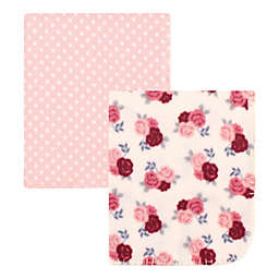 Hudson Baby® 2-Pack Floral Fleece Baby Blankets in Pink