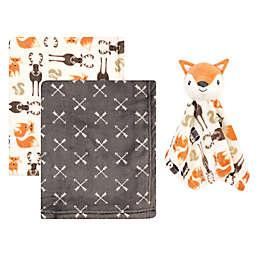 Hudson Baby® 3-Piece Baby Blanket with Plush Fox Security Blanket Set in Orange