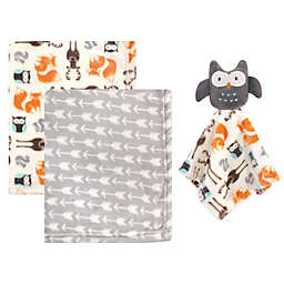 Hudson Baby® 3-Piece Baby Blanket with Plush Owl Security Blanket Set in Grey