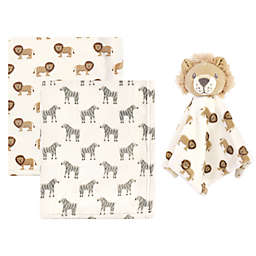 Hudson Baby® 3-Piece Baby Blanket with Plush Lion Security Blanket Set in Brown
