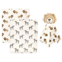 Hudson Baby® 3-Piece Baby Blanket with Plush Animal Security Blanket Set