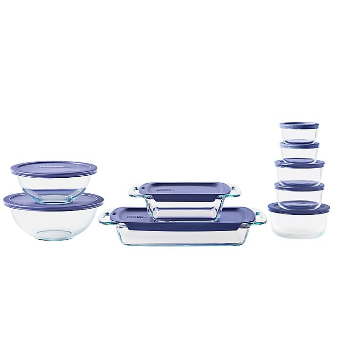 Alternate image 1 for Pyrex® Bake, Prep, & Store 18-Piece Glass Food Storage Set