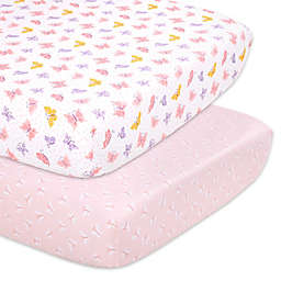 The Peanutshell™ 2-Pack Butterfly Fitted Crib Sheets in Pink/Lavender