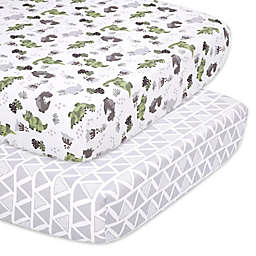 The Peanutshell™ 2-Piece Dino Fitted Crib Sheets in Green/Grey