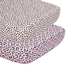 The Peanutshell™ 2-Pack Animal Print Fitted Crib Sheets in Ivory/Black