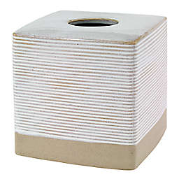 Avanti Drift Ceramic Tissue Box Cover in White/Linen