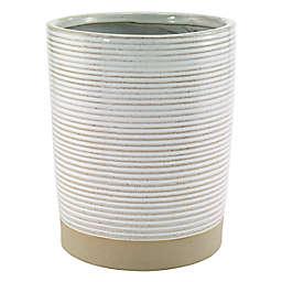 Avanti Drift Ceramic Wastebasket in White/Linen