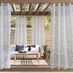 Commonwealth Home Fashions Two-Tone Leaf Botanical Grommet Outdoor Curtain Panel (Single)