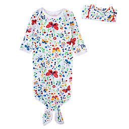 Baby Essentials Newborn 2-Piece Butterfly Floral Gown & Headband Set in White/Multi