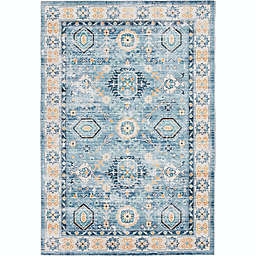 Stivelly 7'10 x 9'10 Area Rug in Blue/Coral