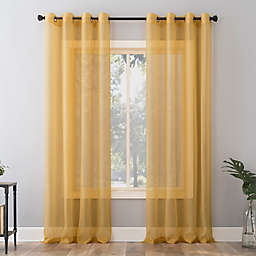 No. 918 Emily Sheer Voile 63-Inch Grommet Window Curtain Panel in Curry Yellow (Single)