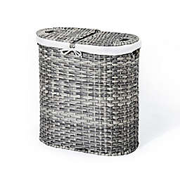 Seville Classics Handwoven Oval Double Laundry Hamper in Grey