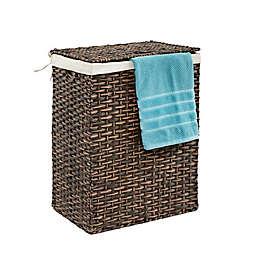 Seville Classics Lidded Wicker Portable Laundry Hamper
