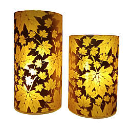 2-Piece LED Glass Table Hurricane Set in Brown