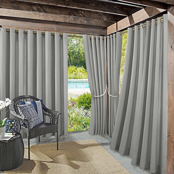 Alternate image 1 for Sun Zero® Dermot Indoor/Outdoor UV Protectant 95-Inch Curtain Panel in Gray (Single)