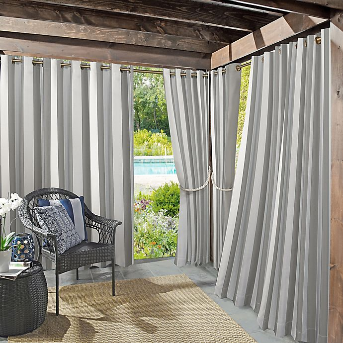 Alternate image 1 for Sun Zero Owen Cabana Stripe Indoor/Outdoor UV Protectant Grommet Curtain Panel (Single)