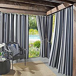 Sun Zero® Owen Cabana Stripe Indoor/Outdoor 84-Inch Curtain Panel in Indigo (Single)