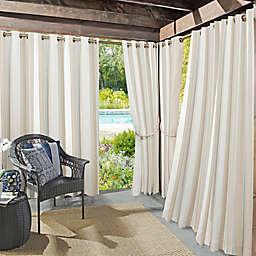 Sun Zero® Owen Cabana Stripe Indoor/Outdoor 95-Inch Curtain Panel in Khaki (Single)