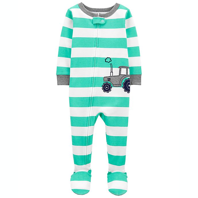 Alternate image 1 for carter's® Cotton 2-Way Zip Sleep & Play Footed Pajama