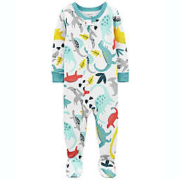 carter's® Size 18M Cotton 2-Way Zip Sleep & Play Footed Pajama in White/Multi