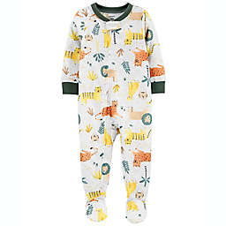 carter's® Size 12M Safari Zip-Front Footed Pajama in Ivory