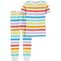 carter's® 2-Piece Striped 100% Snug Fit Cotton PJs in Rainbow Pride