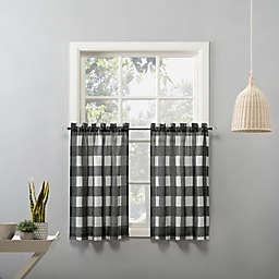 No. 918 Fallon Buffalo Plaid Rod Pocket Kitchen Window Curtain Tier Pair
