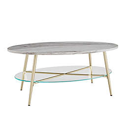 Forest Gate™ 42-Inch Faux Marble Oval Coffee Table in Grey/Gold