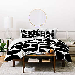 Deny Designs Mid Century 3-Piece Queen Duvet Cover Set in Black