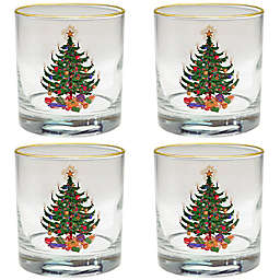 Culver® Christmas Tree Old Fashioned Glass in Green (Set of 4)