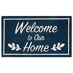 """Simply Essential™ 16"""" x 28"""" """"Welcome To Our Home"""" Door Mat in Blue"""