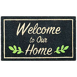 """Simply Essential™ 16"""" x 28"""" Welcome to Our Home Coir Door Mat in Black"""