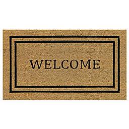 """Simply Essential™ 16"""" x 28"""" Welcome Double Border Door Mat in Beige"""