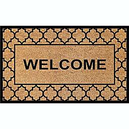 "First Concept 18"" x 30"" ""Welcome"" Quatrefoil Coir Door Mat in Natural"