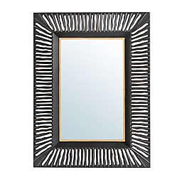 Glitzhome® Oversized Modern Metal Wall Mirror in Black/Gold