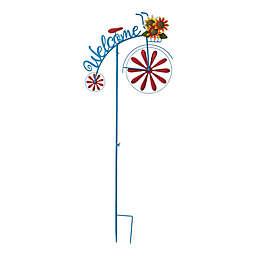 "Glitzhome® 48-Inch Metal Bicycle Wind-Spinner ""Welcome"" Yard Stake"