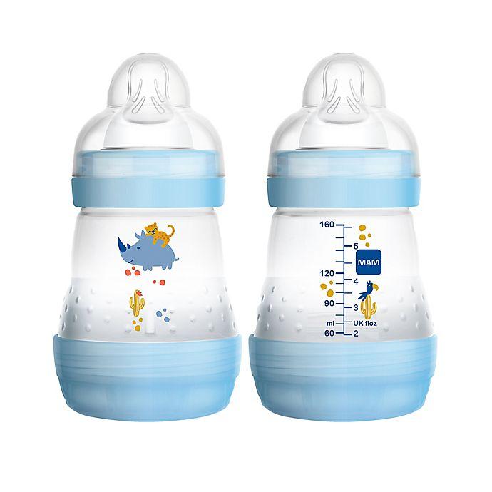 Alternate image 1 for MAM 2-Pack 5 oz. Anti-Colic Bottle in Blue
