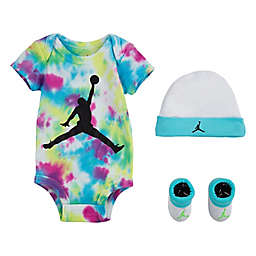 Jordan® 4-Piece Tie-Dye Bodysuit, Cap, and Booties Set in White
