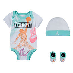 Jordan® 4-Piece Distress Bodysuit, Cap, and Booties Set in White