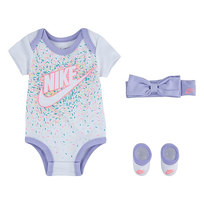 Alternate image 1 for Nike® Size 0-6M 3-Piece Headband, Bodysuit, and Bootie, Set in White