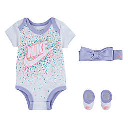 Nike® Size 0-6M 3-Piece Headband, Bodysuit, and Bootie, Set in White