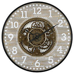 Sterling & Noble® 32-Inch Round Modern Farmhouse Gear Clock in Grey/Black
